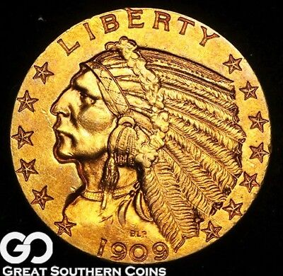 1909 Half Eagle, $5 Gold Indian, Deep Rich Look ** Free Shipping!
