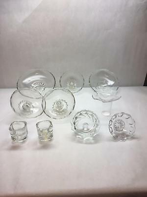 VINTAGE Lot of 10 GLASS Candle WAX CATCHERS Various SIZES Designs CLEAR
