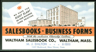 Waltham Salesbook Company Business Forms blotter MA 1930s