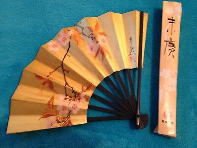Vintage JAL Airlines Japan Hand Held Paper Fan Advertising Cherry Blossoms IOB