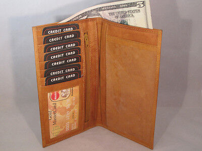 Checkbook Money Credit Card Holder Tan Three In One New Genuine Leather