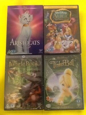 Disney 4 X Dvd Collection All New And Sealed Aristocats,alice In Wonderland,etc