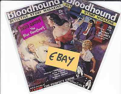 2 Photo Cover Art Cards - Bloodhound Pulp Detective Story Magazine - Only £1.49