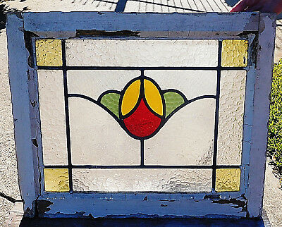 "21"" x 17"" Old Vtg Art Nouveau STRAWBERRY Stained Glass Window Solid Wood Antique"