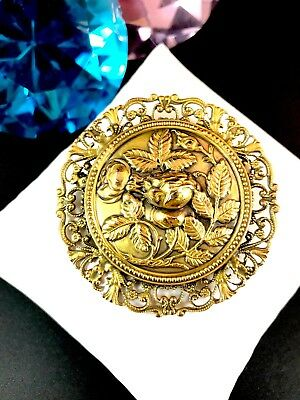Fabulous Joseff Of Hollywood Russian Gold-Tone Art Nouveau Floral Rose Brooch