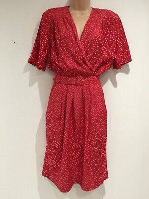 Vintage 80's Retro Red & White Polka Dot 40's Style Belted Day Tea Dress Size 14