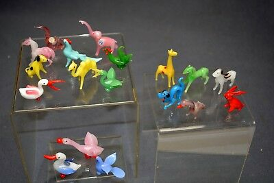 Amazing Collection Lot of 18 Vintage Glass Animals Occupied Japan Tiny Cute NR!!