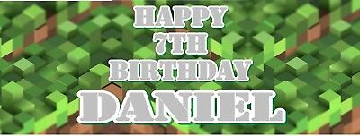 perfect for minecraft fans X2 Pixel 2 3ft party personalised birthday banners