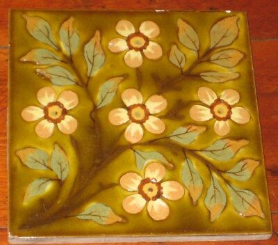 Vintage English Flowers & Leaves Tile  Very Pretty