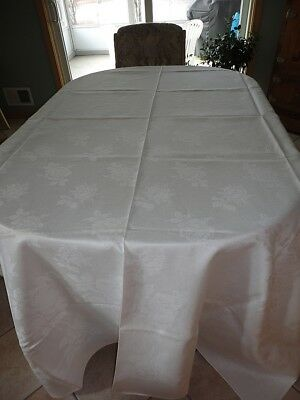 "Vintage Irish Linen Tablecloth White Roses 102"" x 70"" NR"