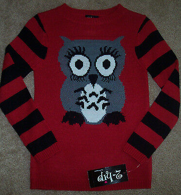NWT 2-Hip Red/Black Tunic Sweater Gray/Cream FUNKY WISE OWL Girls M 8/10 DARLING