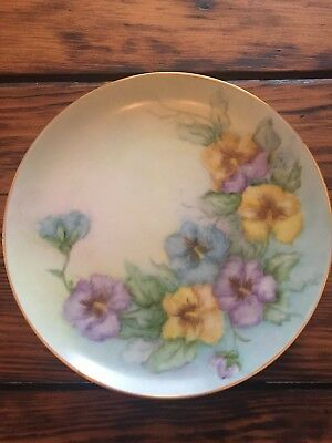 "Vintage Pansies Hand Painted Porcelain Plate 7 1/2"" Green Blue Floral - Unmarked"
