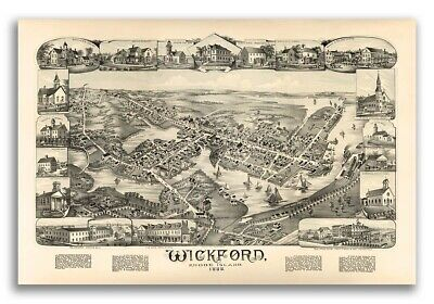 1888 Wickford, Rhode Island Vintage Old Panoramic City Map - 16x24