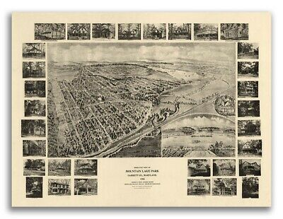 Bird's Eye View 1906 Mountain Lake Park, Maryland Vintage Style City Map - 18x24