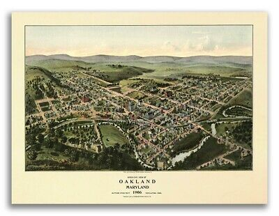 Bird's Eye View 1906 Oakland, Maryland Vintage Style City Map - 24x32