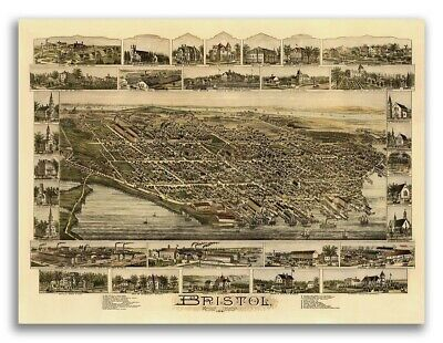 1891 Bristol, Rhode Island Vintage Old Panoramic City Map - 18x24