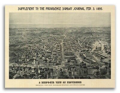 1895 Providence, Rhode Island Vintage Old Panoramic City Map - 24x32