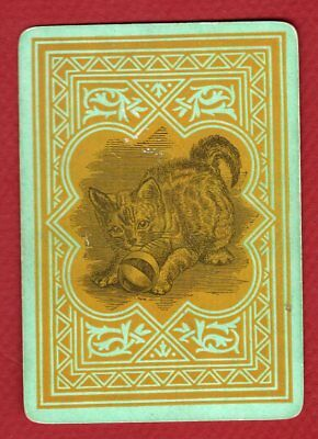 Single Swap Playing Card WIDE #60E CAT TOY BALL TABBY KITTEN OLD VINTAGE ANTIQUE