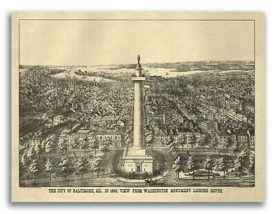 Bird's Eye View 1880 Baltimore, Maryland Vintage Style City Map - 24x32