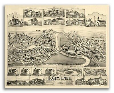 Bird's Eye View 1888 Lonsdale, Rhode Island Vintage Style City Map - 24x30