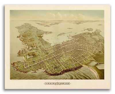 1878 Newport, Rhode Island Vintage Old Panoramic City Map - 16x20
