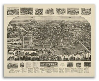 Westerly, Rhode Island 1911 Historic Panoramic Town Map - 16x20