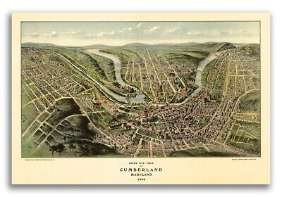 Bird's Eye View 1906 Cumberland, MD Vintage Style City Map - 16x24