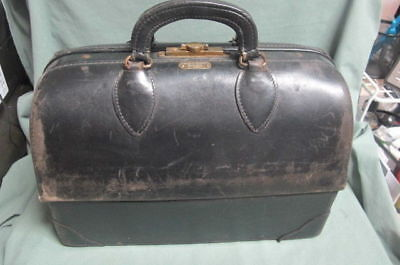 Antique Vintage Schell Emdee Doctor's Bag Black Leather