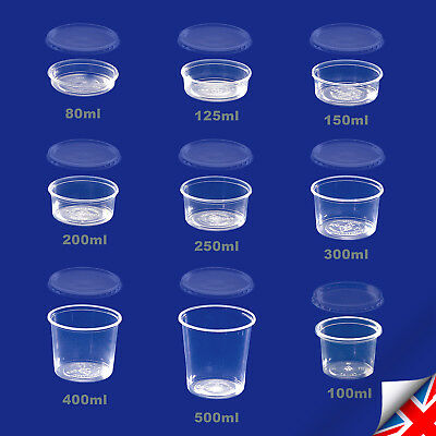 Clear Round Food Containers Plastic Storage Tubs with Lids Deli Pots +Microwave