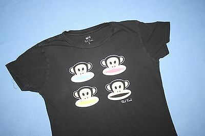 L Paul Frank Julius The Monkey T-Shirt Short-Sleeve Black Tee Women Large