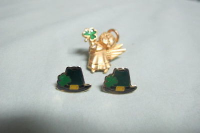 Vintage Lot of St Patrick Pair of EPerced Earrings and Angel Pin