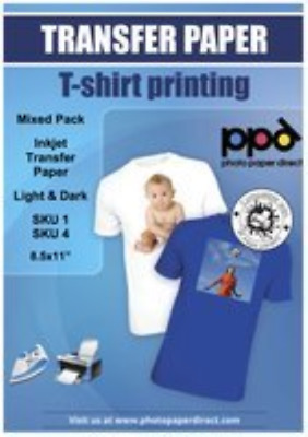"""PPD Inkjet Iron-On Mixed Light and Dark Transfer Paper LTR 8.5 x 11"""" Pack of 40"""