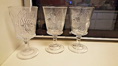 Two Strawberry and Current Water Glass LG Wright by Fenton  Have Six Total