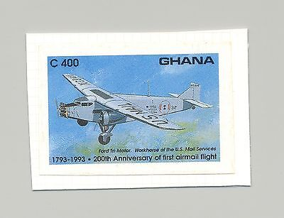 Ghana #1555 Aviation, Mail Services 1v Imperf Proof on Card