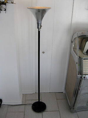 1937 Art Deco Chrome Floor Torchiere Mutual Sunset Lamp Gilbert Rohde Style