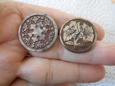 Antique/vintage Pair Of Excellent Early Machined Stell Buttons  #685