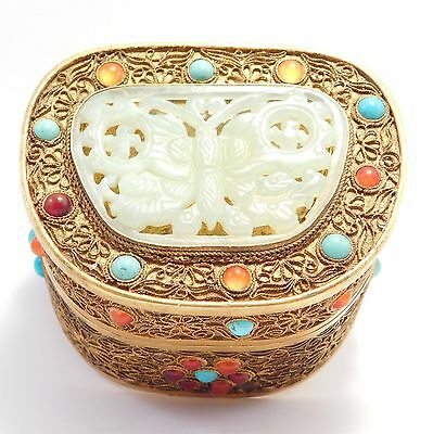 Ornate Carved Hardstone Turquoise Agate Chinese Box