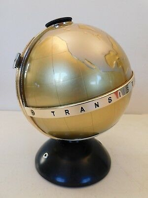 VINTAGE OLD 1960s ANTIQUE TRANSISTOR RADIO WORLD MAP GLOBE TOP JET AGE ROCKET