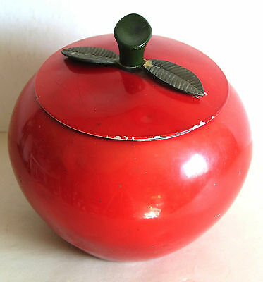 """Vintage 1969 Red Aluminum Apple Canister Mid Century Modern 6.5"""" tall FREE SH"""