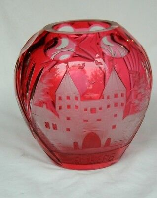 Czech Bohemian Cranberry Red Cut Clear Rose Bowl Glass Engraved Antique