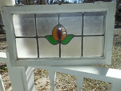 MA12-339 Lovely Older Transom Style Leaded Stained Glass Window From England