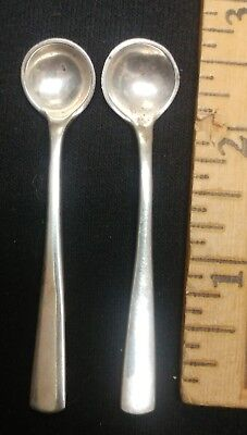 "Mid Century Sterling Silver salt cellar spoons Codan Mexico 2 3/4"" Danish Style"