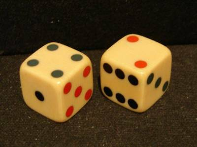 Rare Pair Of Vintage Dice Made Of French Ivory-Tri Color Inlaid Spots-Beautiful