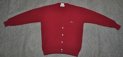 vintage LACOSTE CARDIGAN BUTTON FRONT SWEATER w/ Crocodile Oxblood sz M Sweater