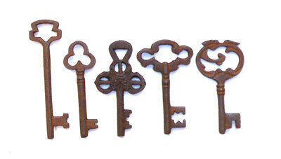 Antique 1800'S Style  Iron Skeleton Keys Lot Of 5 - C