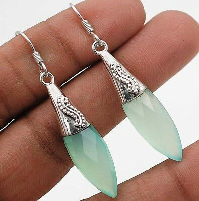 "Faceted Aquamarine 925 Solid Sterling Silver Earrings Jewelry 2"" Long"