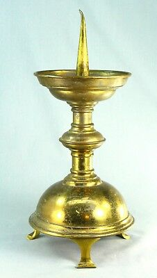"""! Antique 1800's GOTHIC REVIVAL Brass Pricket Candle Holder Candlestick 14"""" #2"""
