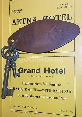 Vintage GRAND HOTEL Fob With COOL Old Keys DANVILLE, ILLINOIS/Near Wabash Depot