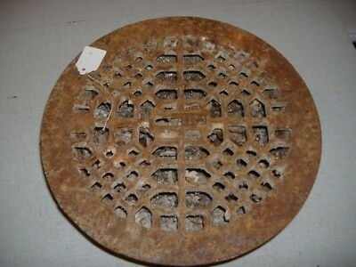 Wrought Iron Round Chimney Wall Heating Grate Wall Art Vintage Antique