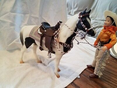 LSQ SR Black Pinto Pony Swap mold w CM western saddle set Bosal adj  girl rider